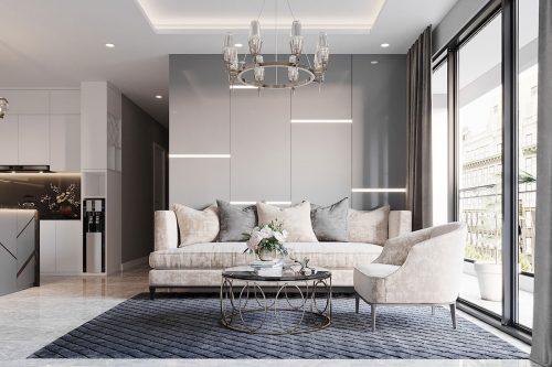 Tham khảo mẫu thiết kế nội thất phòng khách bếp chung cư Dcapitale