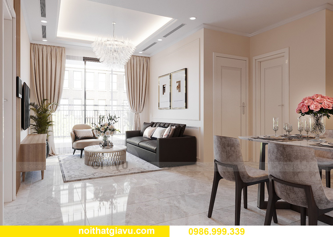 thiết kế nội thất chung cư West Point 2 ngủ đơn giản nhẹ nhàng 04