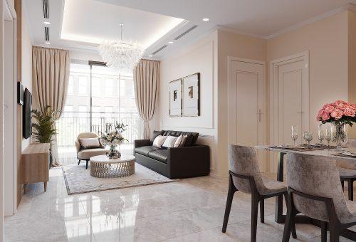 Thiết kế nội thất chung cư West Point 2 ngủ đơn giản, nhẹ nhàng