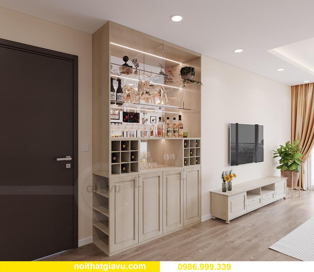 thiết kế thi công nội thất Vinhomes Smart City căn 3 ngủ 1