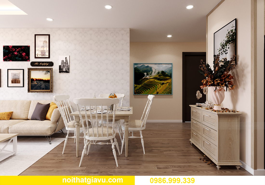 thiết kế thi công nội thất Vinhomes Smart City căn 3 ngủ 3