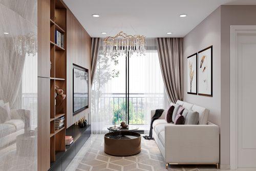 Mẫu thiết kế nội thất Smart City tòa S2.02 căn hộ 17 – chị Vy