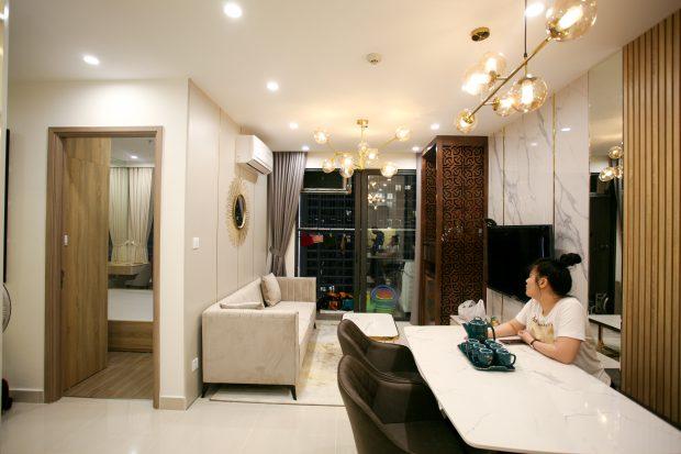 Thi công nội thất căn hộ Vinhomes Smart City nhà anh Hòa