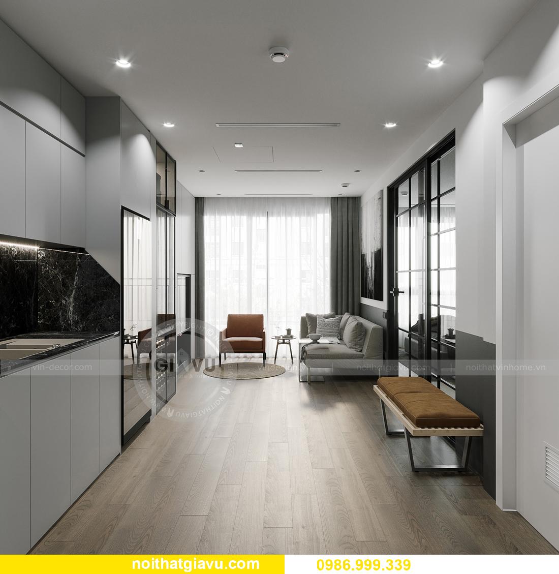 thiết kế nội thất căn hộ 43m2 tại chung cư Vinhomes Smart City 1
